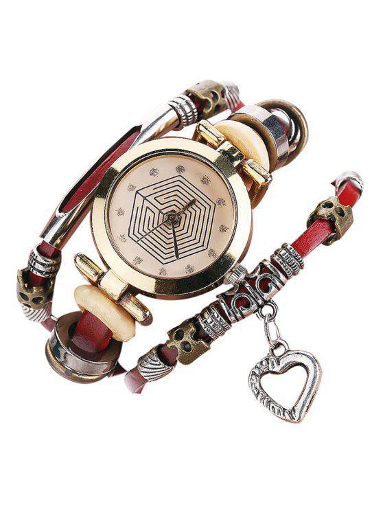Geschichtete Fantastische Armband-Uhr mit Strass und Herz - Rot