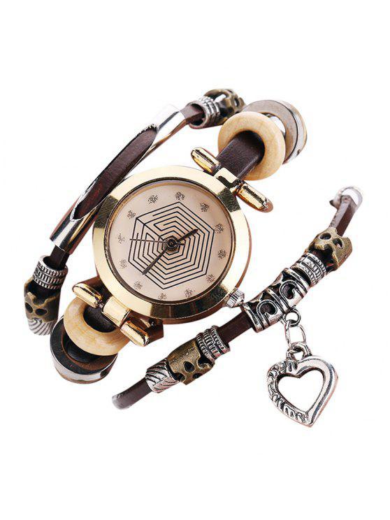 shop Rhinestone Heart Layered Charm Bracelet Watch - COFFEE