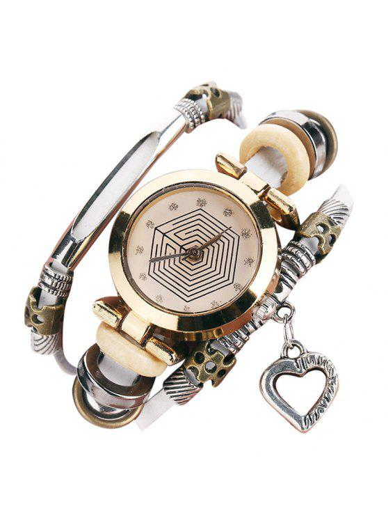 Montre-Bracelet avec Breloques à Plusieurs Branches Motif Cœur et Strass - Blanc