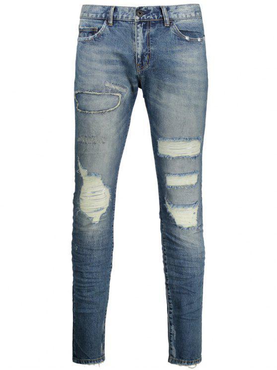 Jeans en détresse vintage - Denim Bleu 34