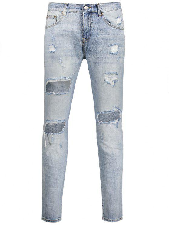trendy Vintage Ripped Jeans - LIGHT BLUE 40