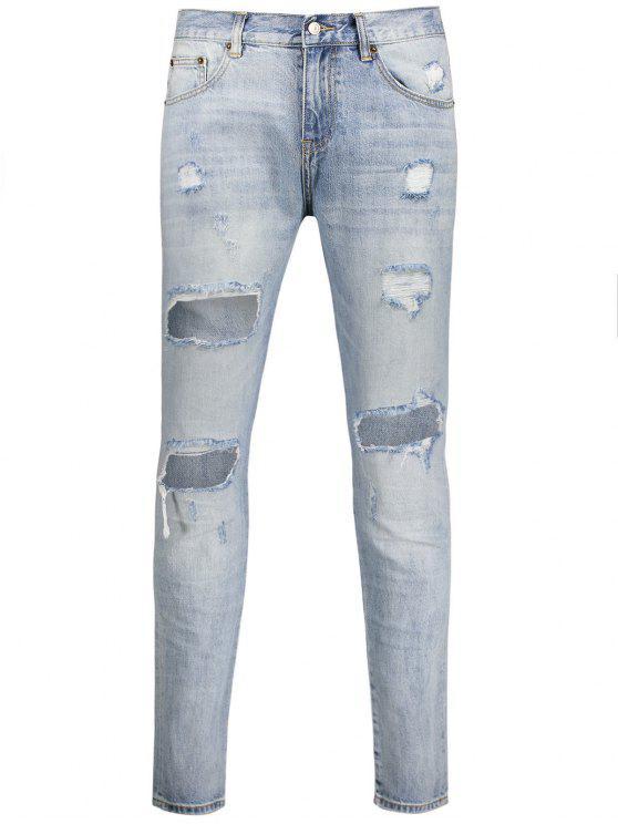 Vintage Ripped Jeans - Bleu clair 38