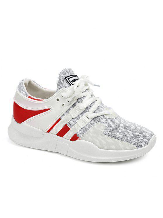 تنفس كتلة اللون شبكة أحذية رياضية - رمادي فاتح 38