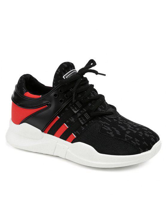 Sapatos de atletismo de malha de bloqueio de cor respirável - Preto 38