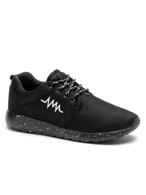 Bordado Line Mesh Athletic Shoes - Preto 38