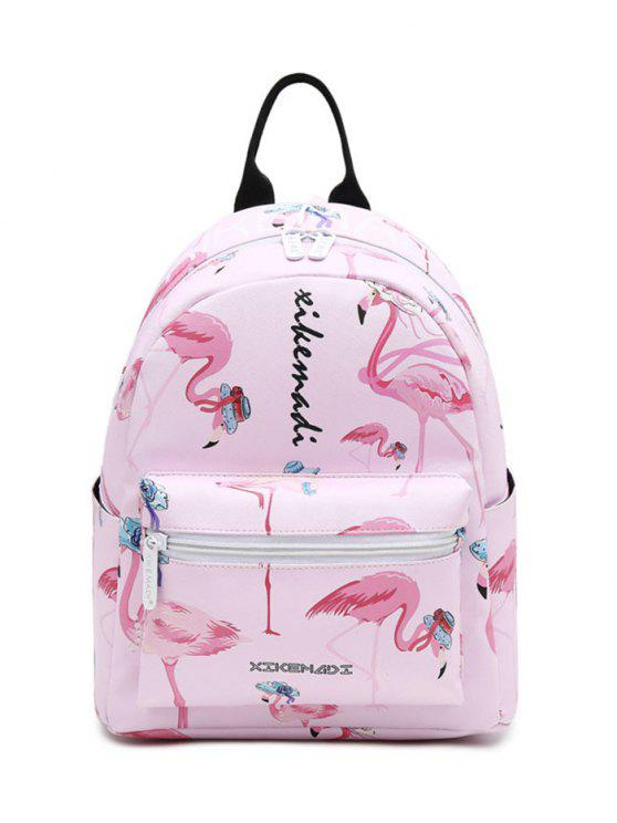outfit Faux Leather Flamingo Print Backpack - PINK