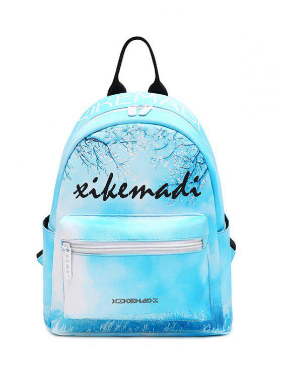 hot Faux Leather Painted Backpack - BLUE
