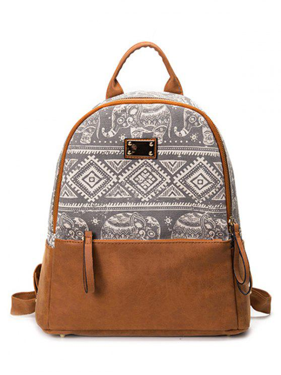 women's PU Leather Panel Tribal Print Backpack - GRAY