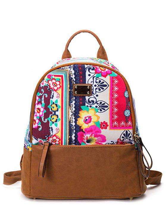 ladies PU Leather Panel Tribal Print Backpack - RED