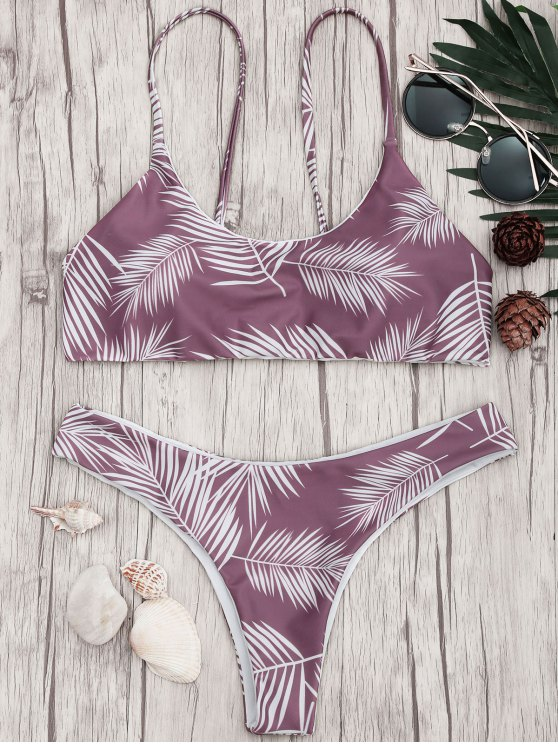 shops Palm Leaf Print Padded Bralette Bikini Set - PURPLE AND WHITE S