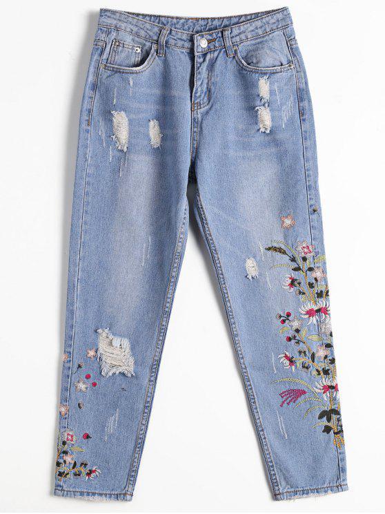 Jeans Fuselé Brodé Floral Usé - Denim Bleu L