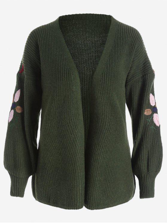 Chaqueta bordada floral de la manga de la linterna - Verde del ejército Única Talla