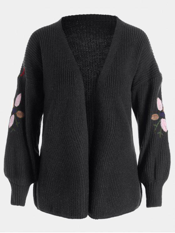 Chaqueta bordada floral de la manga de la linterna - Negro Única Talla