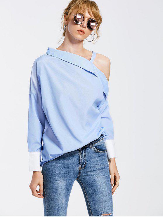 Skew Collar gota hombro rayas Blusa - Azul Claro XL