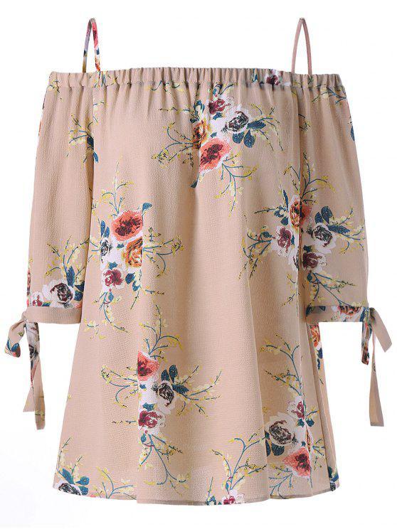 Übergröße Bluse mit Schulterfrei und Blumendruck - Aprikose 3XL