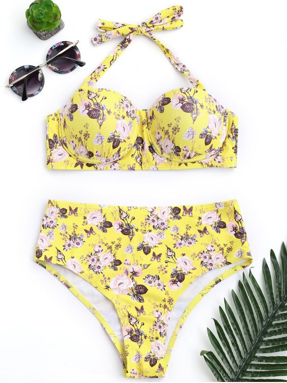 hot Push Up Floral Underwire High Rise Bikini - YELLOW L