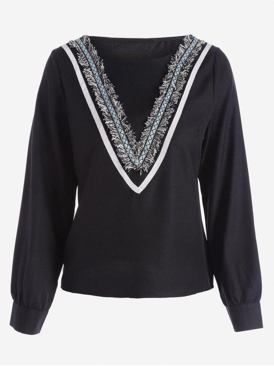 Blusa embutida de manga comprida de colarinho longo - Preto M