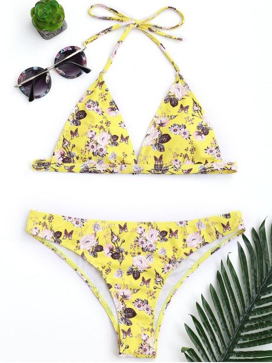 Conjunto de bikini de corte alto floral acolchado pequeño - Amarillo S