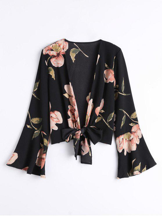 women Bowknot Floral Flare Sleeve Blouse - BLACK S