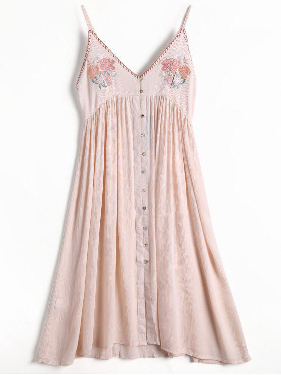fashion Floral Embroidered Button Up Slip Dress - LIGHT PINK S