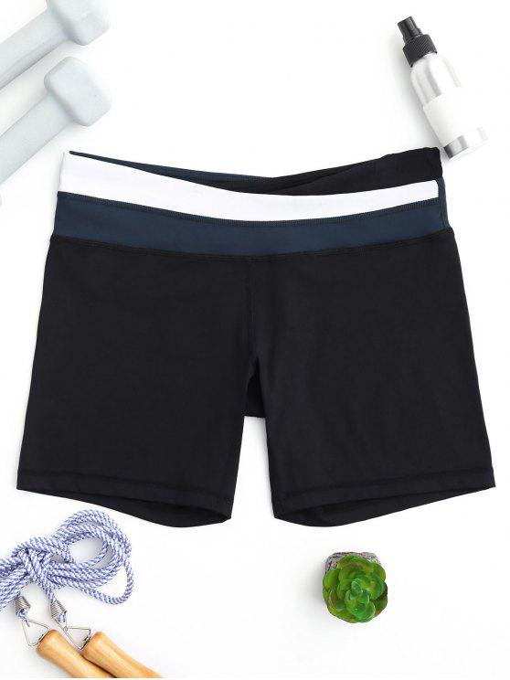affordable Asymmetric Waist Color Block Shorts - BLUE S