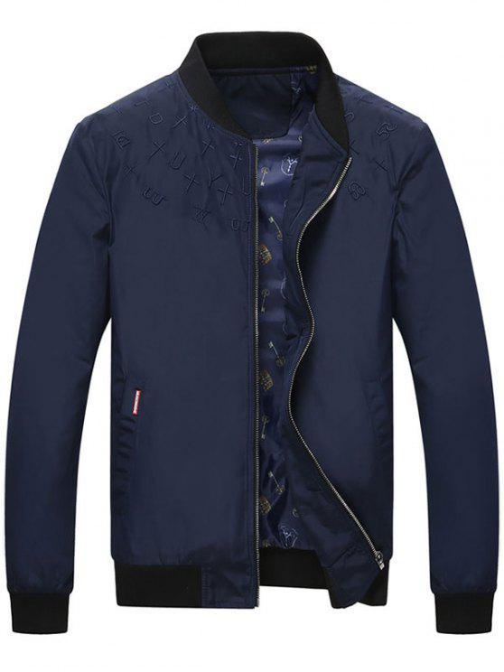 best Zip Up Embroidery Bomber Jacket - DEEP BLUE L