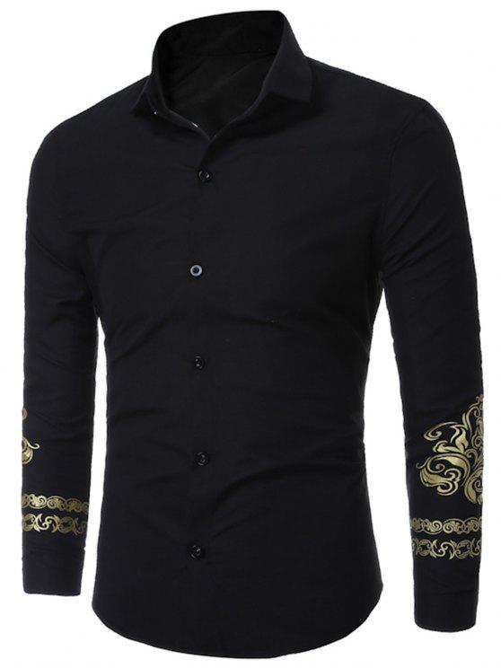 الأزهار المطبوعة قميص يتأهل - أسود XL