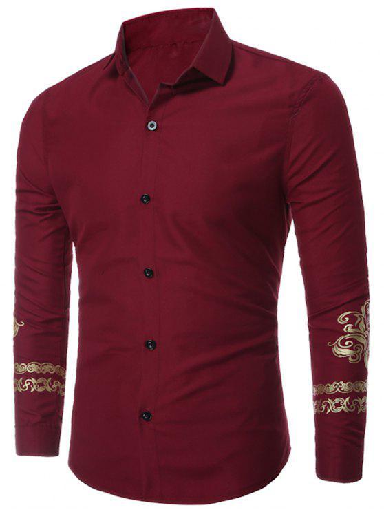 قميص يتأهل الأزهار المطبوعة - نبيذ أحمر XL