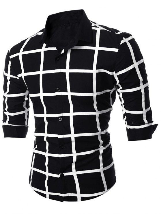 ضئيلة تناسب شبكة هندسية قميص متقلب - أسود L