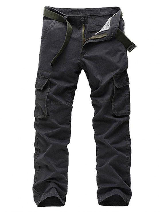 سحاب جيوب مستقيم الساق البضائع السراويل - رمادي 32