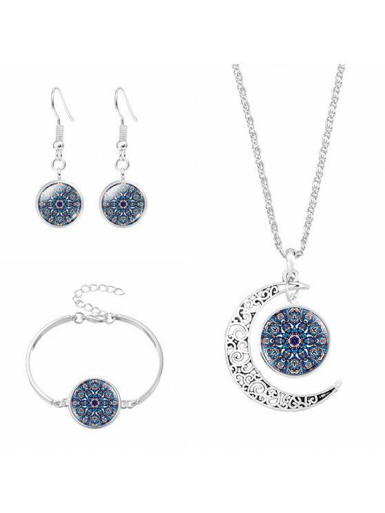 القمر زهرة قلادة سوار و القرط مجموعة - الأرجواني الأزرق