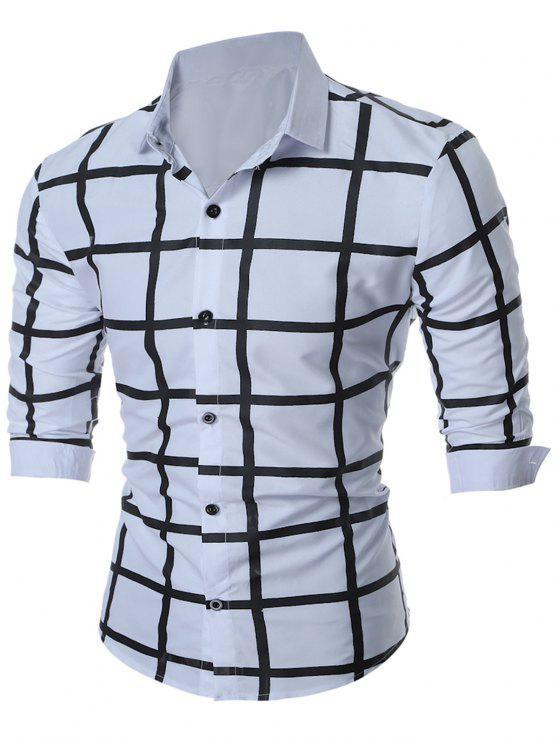 قميص متقلب ضئيلة تناسب شبكة هندسية - أبيض 2XL