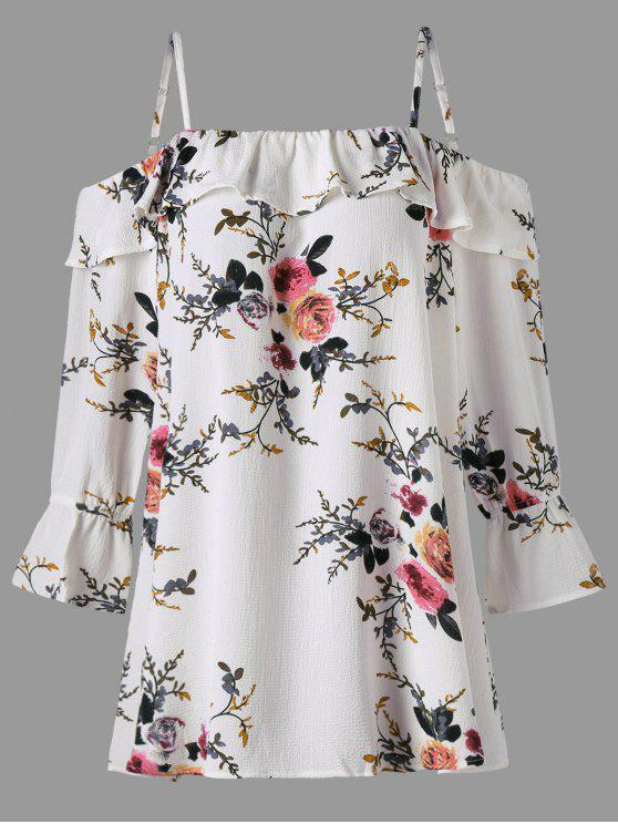 latest Plus Size Floral Flounce Cold Shoulder Blouse - WHITE 4XL