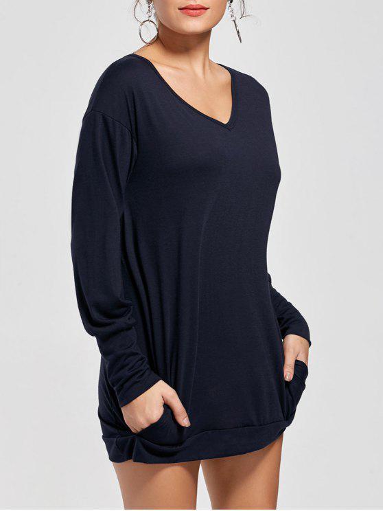 كم طويل قصير تونك تي شيرت اللباس - ازرق غامق XL