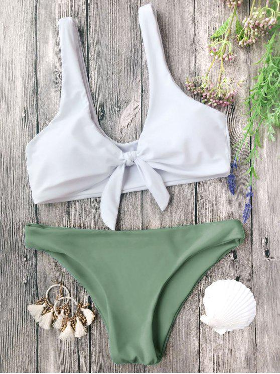 women Padded Knotted Bralette Bikini Set - WHITE AND GREEN M