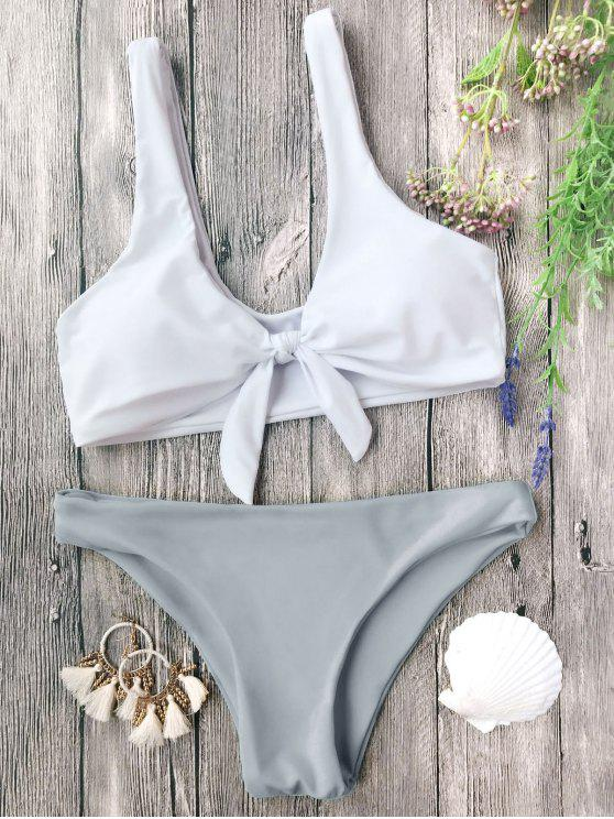 online Padded Knotted Bralette Bikini Set - GREY AND WHITE L