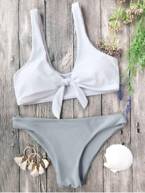 new Padded Knotted Bralette Bikini Set - GREY AND WHITE M