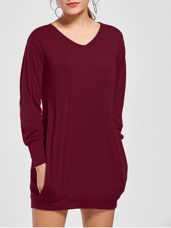 كم طويل قصير تونك تي شيرت اللباس - نبيذ أحمر M