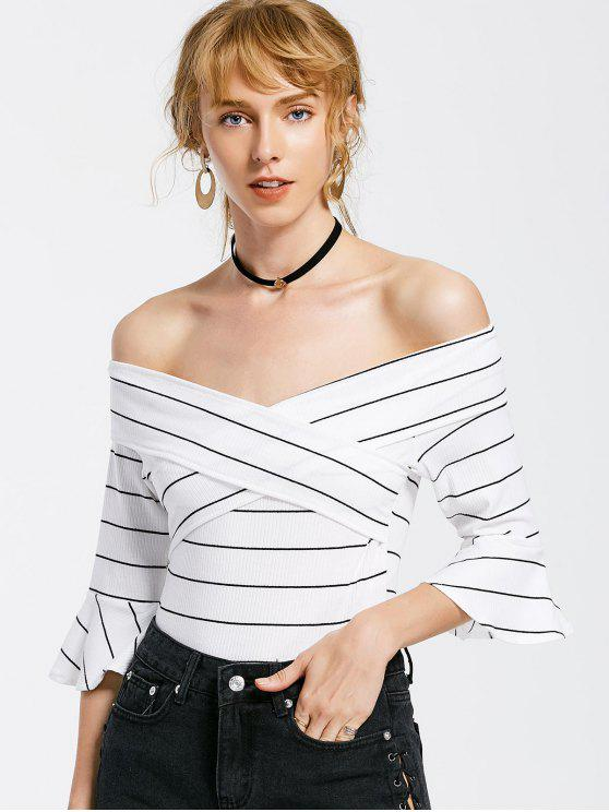 shop Off The Shoulder Flare Sleeve Striped Bodysuit - WHITE M
