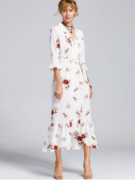 Robe Maxi Florale avec Fente Haute et Ceinture - Blanc M