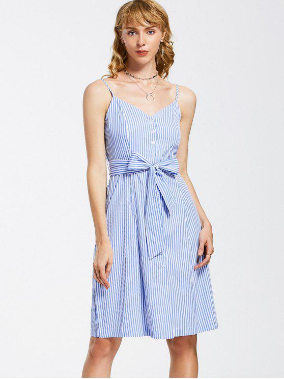 chic Button Up Striped Belted Mini Dress - BLUE AND WHITE L