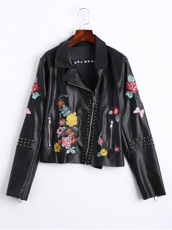 fancy Floral Embroidered PU Leather Biker Jacket - BLACK L