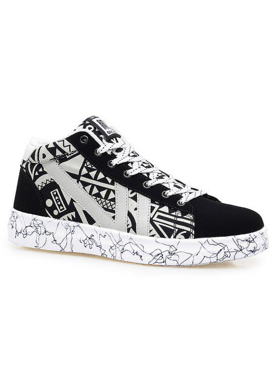 اللون كتلة هندسية نمط عارضة الأحذية - أسود أبيض 41