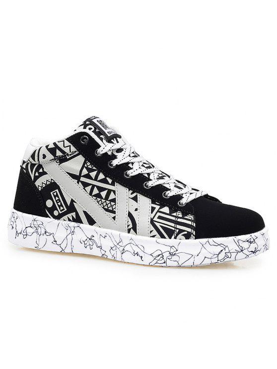اللون كتلة هندسية نمط عارضة الأحذية - أسود أبيض 42