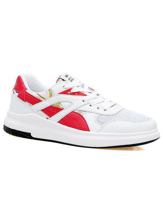 Blusa de bloco de cores correndo sapatos atléticos - VERMELHO COM BRANCO 38
