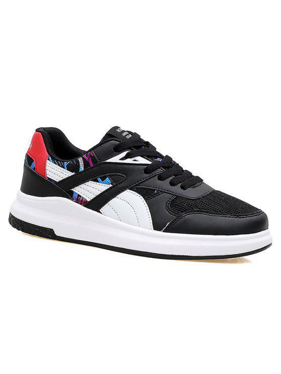 Blusa de bloco de cores correndo sapatos atléticos - Branco e Preto 40