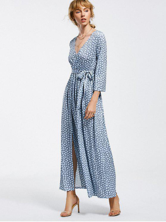 outfits Belted Slit Printed Maxi Dress - LIGHT BLUE XL