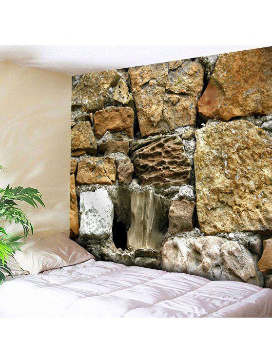حجر طباعة ماء المخملية الجدار شنقا نسيج - البني الفاتح W79 بوصة * L59 بوصة