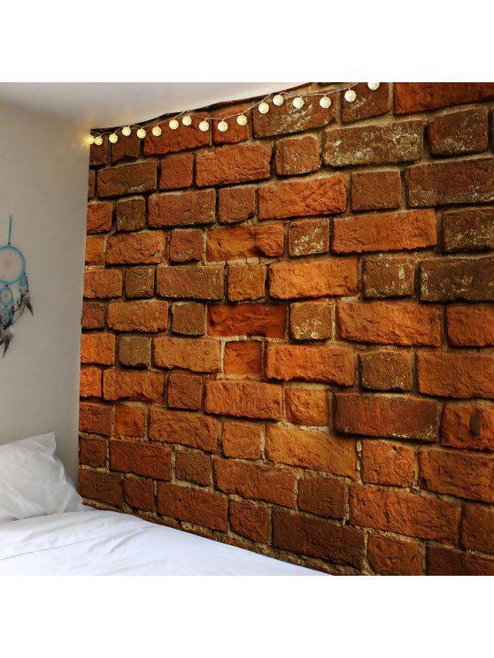 الطوب طباعة الجدار شنقا نسيج للماء - BROWN W79 بوصة * L59 بوصة