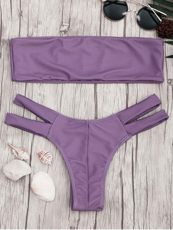 womens Strapless Bandeau Bikini Top and Cutout Bottoms - PURPLE L